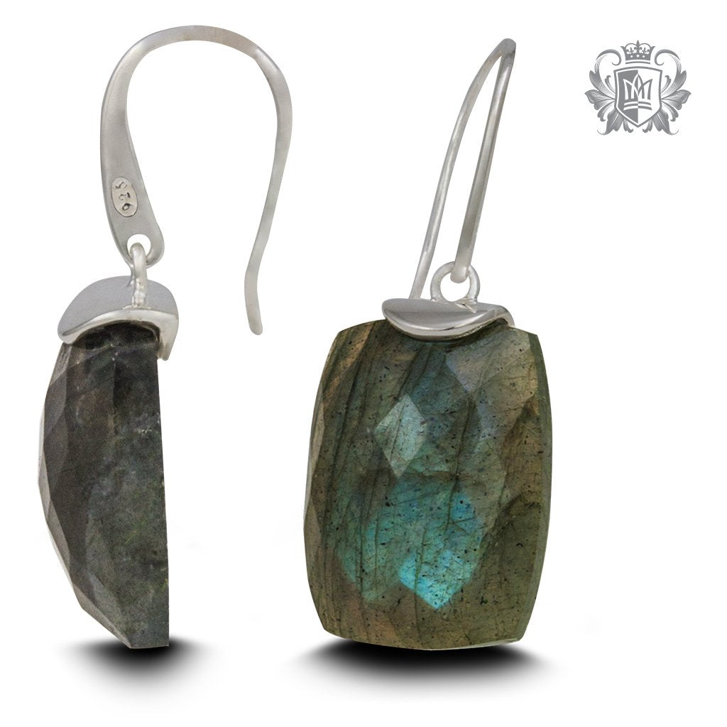 Floating Labradorite Hangers | Sterling Silver Earrings Checker Cut