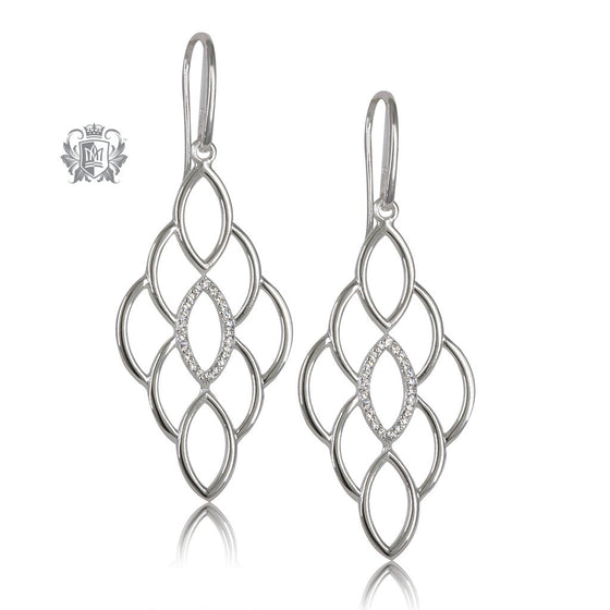 Metalsmiths Sterling Silver Marquise Pattern Chandelier Earrings