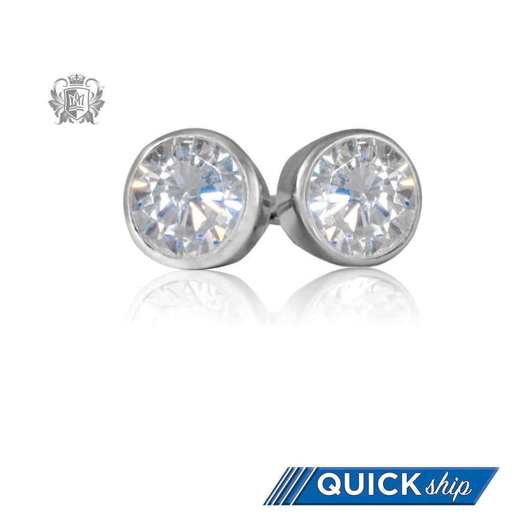 bezel round stud solitaire set cut earrings gold product screw back yellow