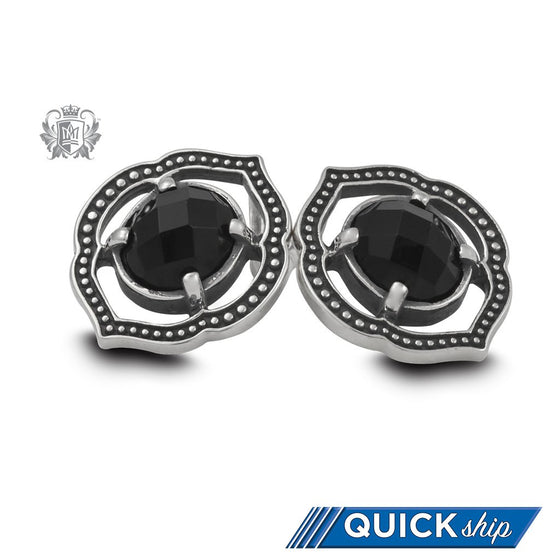 Black Onyx Lotus Stud Earrings - Metalsmiths Sterling™ Canada