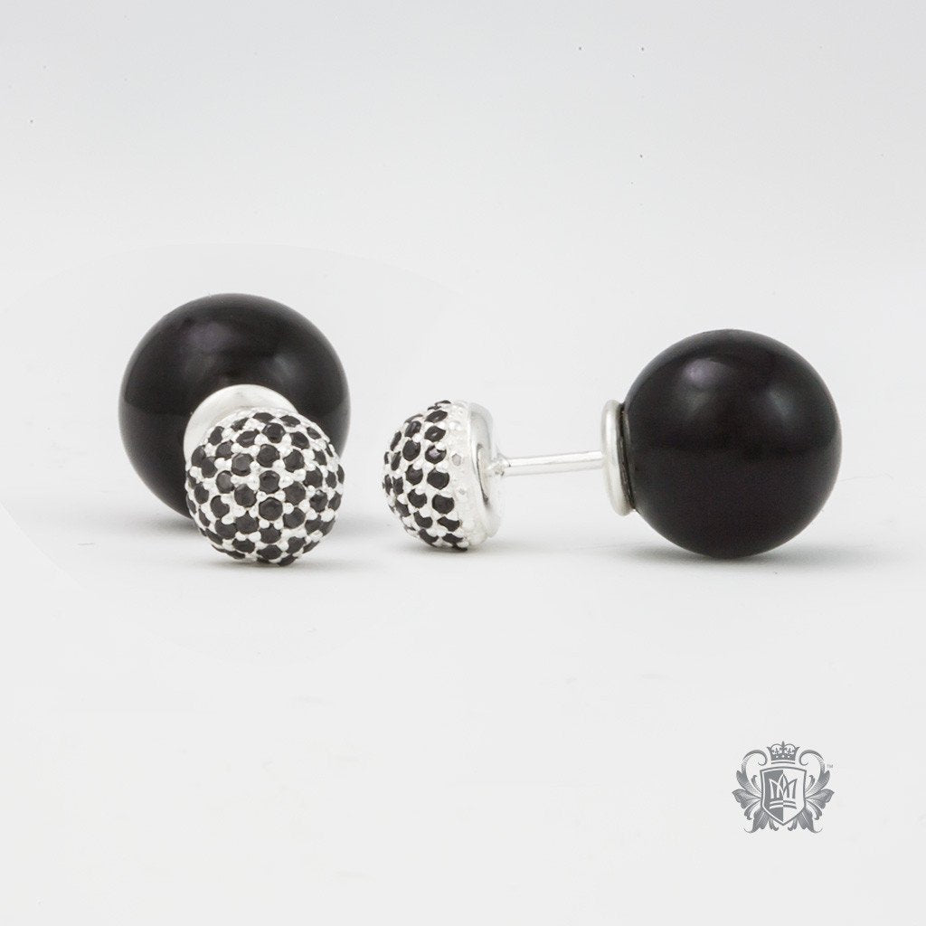 Double Stud Earrings - Black Onyx & Black Cubic - Metalsmiths Sterling™ Canada