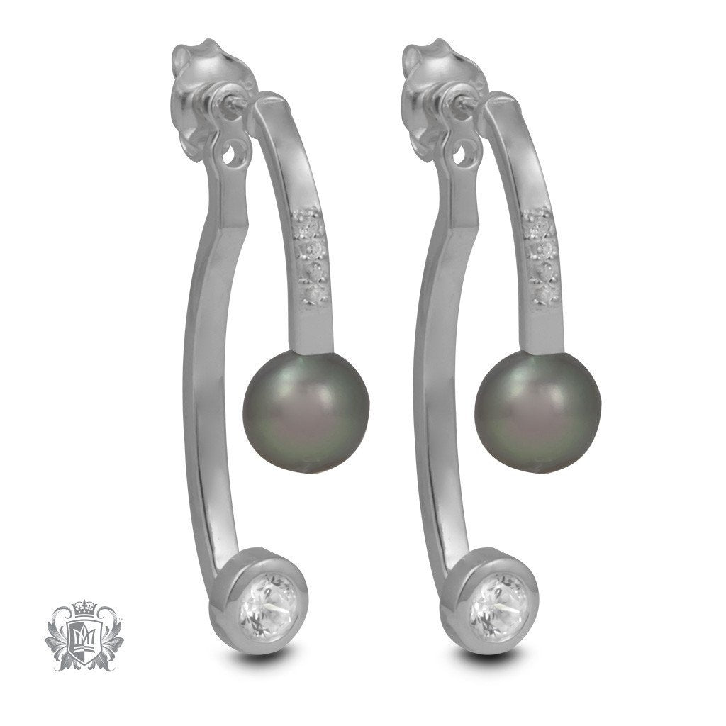 Double Dangling Ear Jackets with Freshwater Pearl & Cubics - Metalsmiths Sterling™ Canada