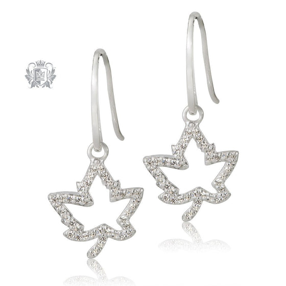 Metalsmiths Sterling Silver Sparkling Maple Leaf Earrings - front