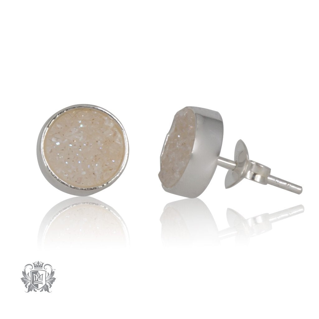 White Druzy Round Stud Earrings SIDE Metalsmiths Sterling Silver