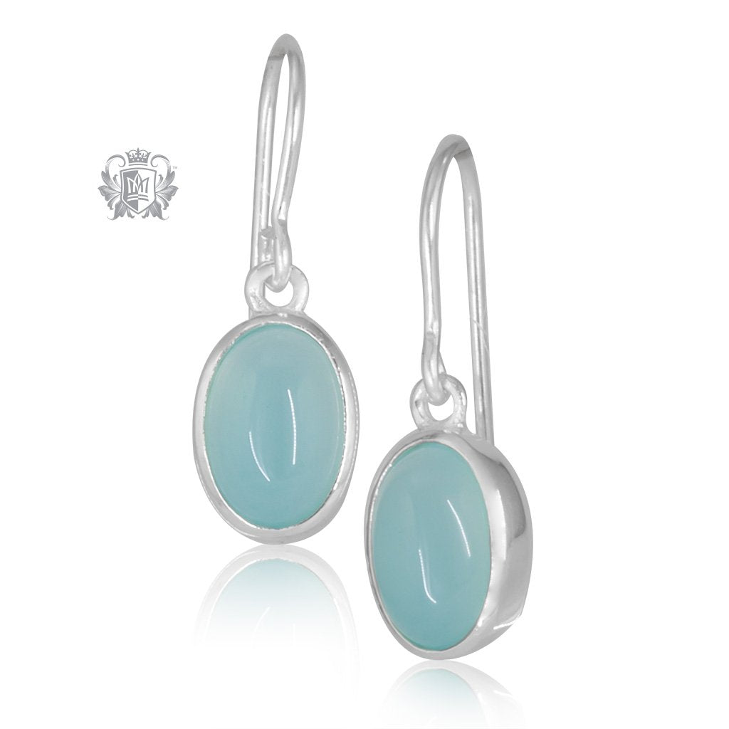 Aquamarine Agate JellyBean Hanger Earrings Sterling Silver