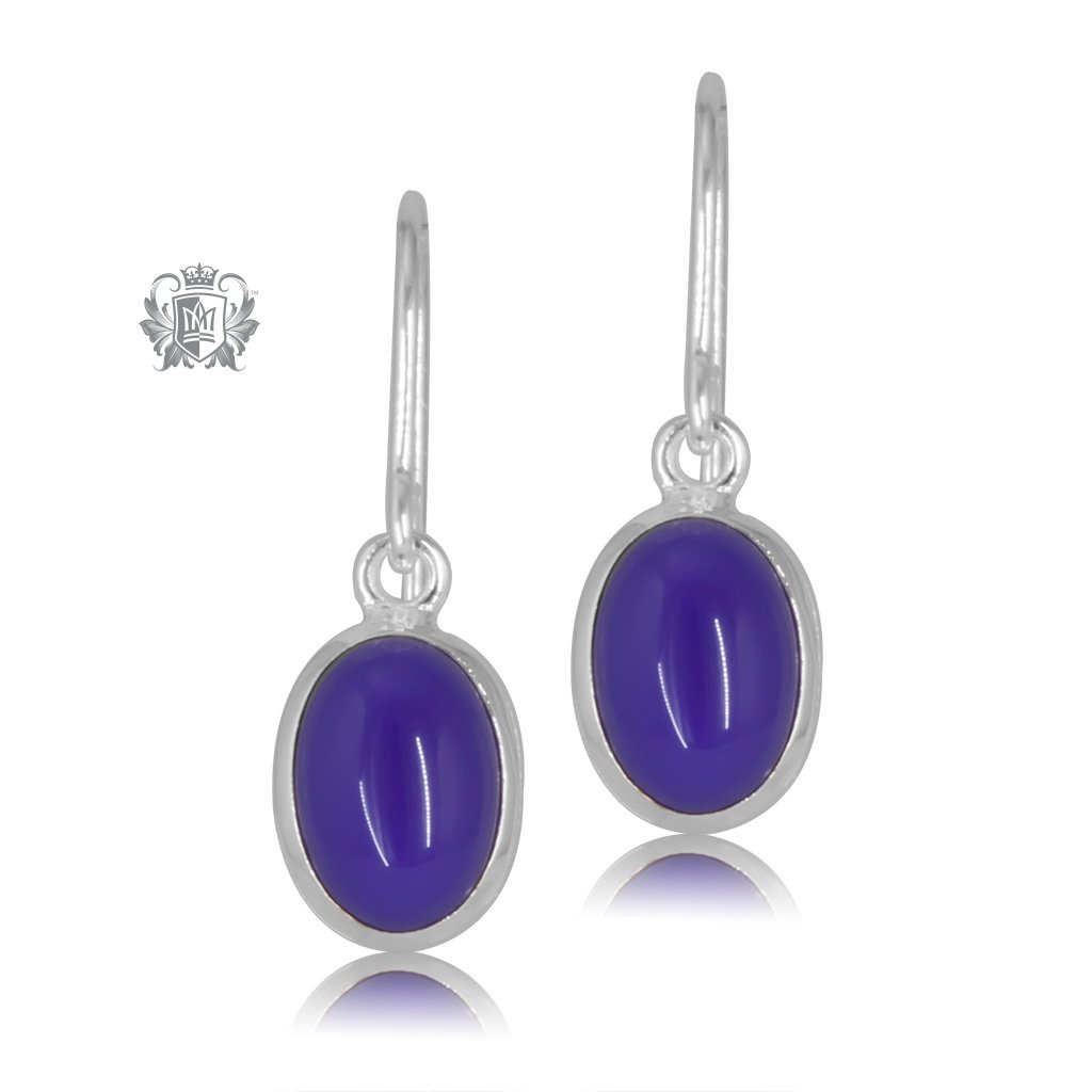 Violet Agate JellyBean Hanger Earrings Sterling Silver