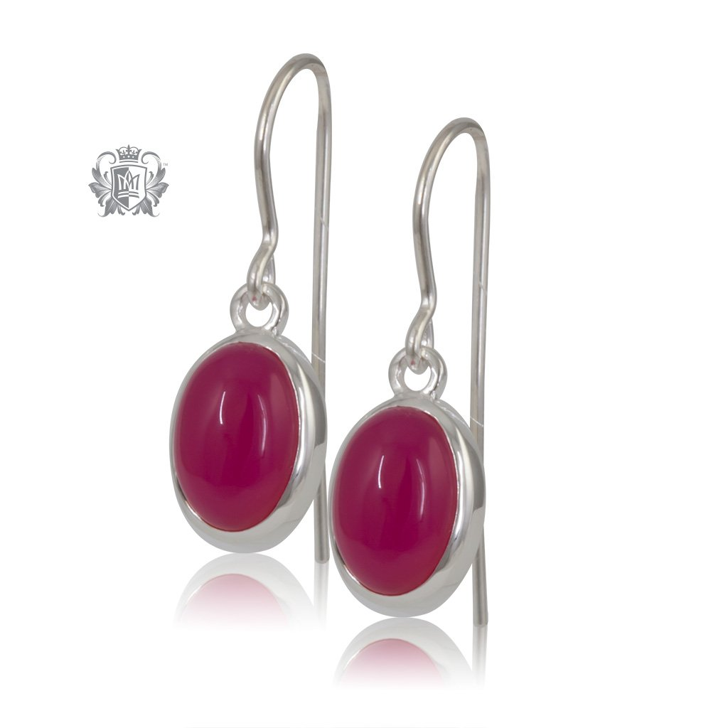 Raspberry Agate JellyBean Hanger Earrings Sterling Silver
