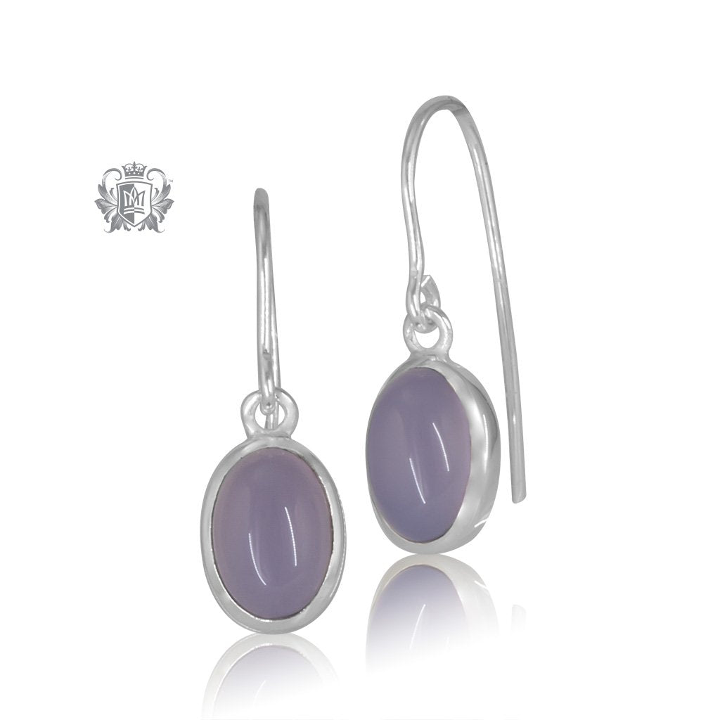 Lilac Agate JellyBean Hanger Earrings Sterling Silver