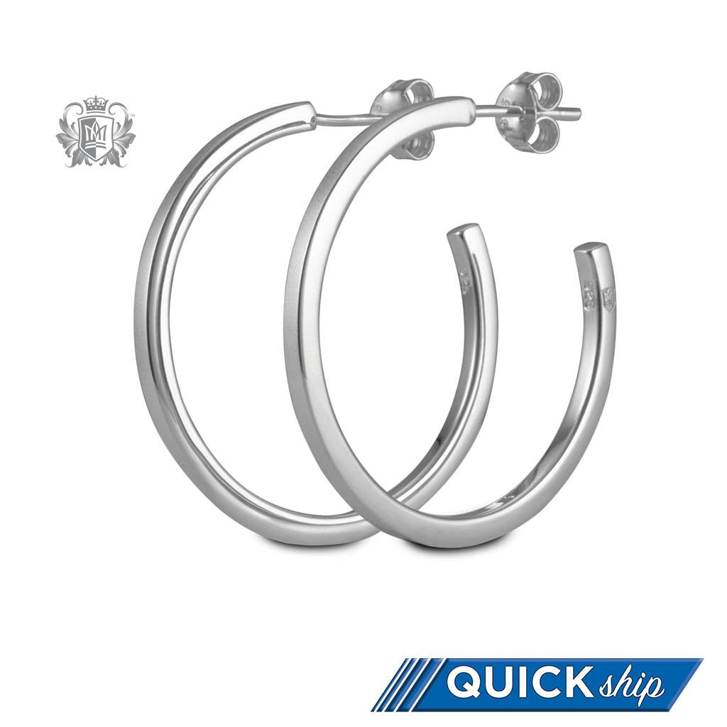Quick Ship Metalsmiths Sterling Silver Satin Edge Hoop Earrings