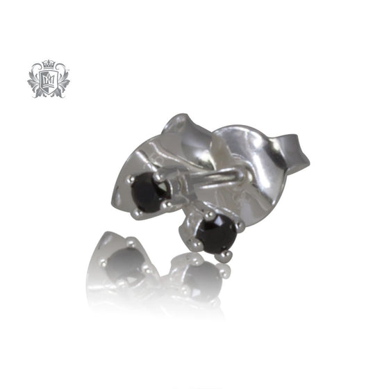 Small Black Cubic Prong Set Studs
