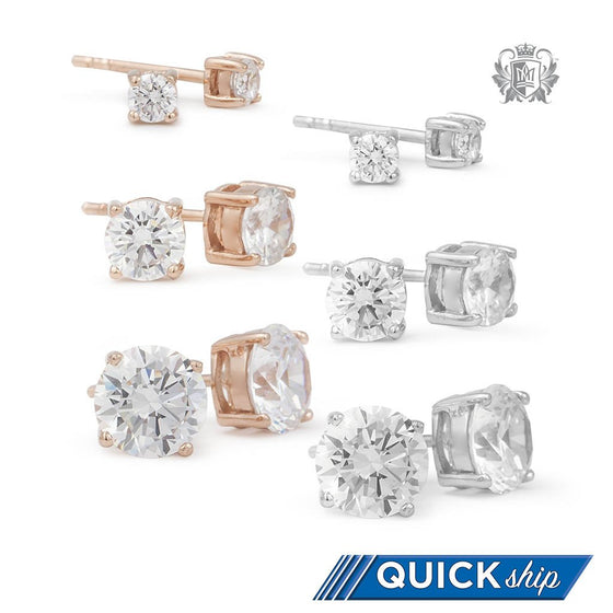 Prong Set Cubic Studs - Small, Medium, Large