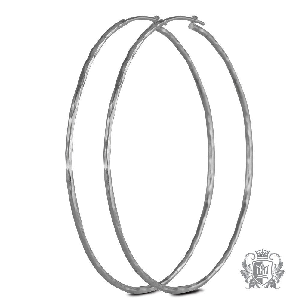 Metalsmiths Sterling Silver Hand Hammered Twist Hoops