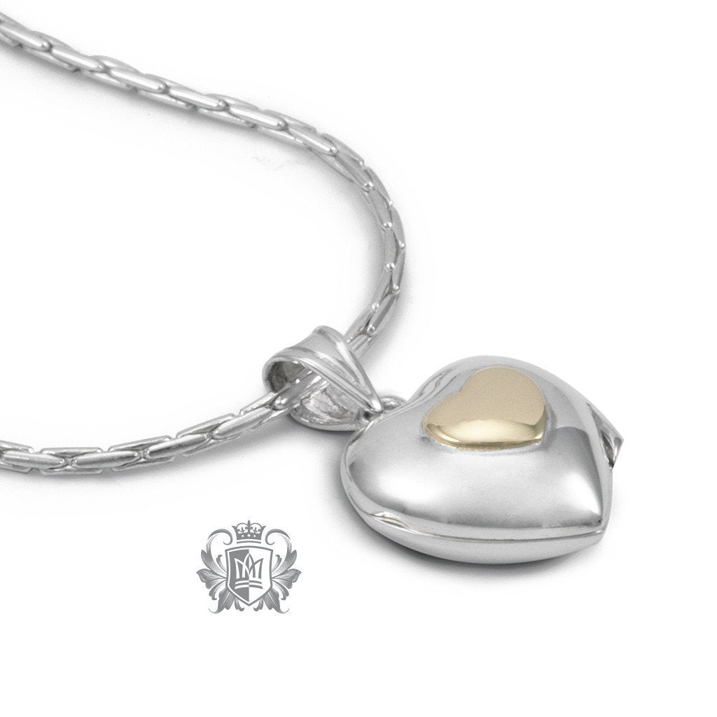 Heart Locket with 10K Gold Accent - Two Sizes - Metalsmiths Sterling™ Canada