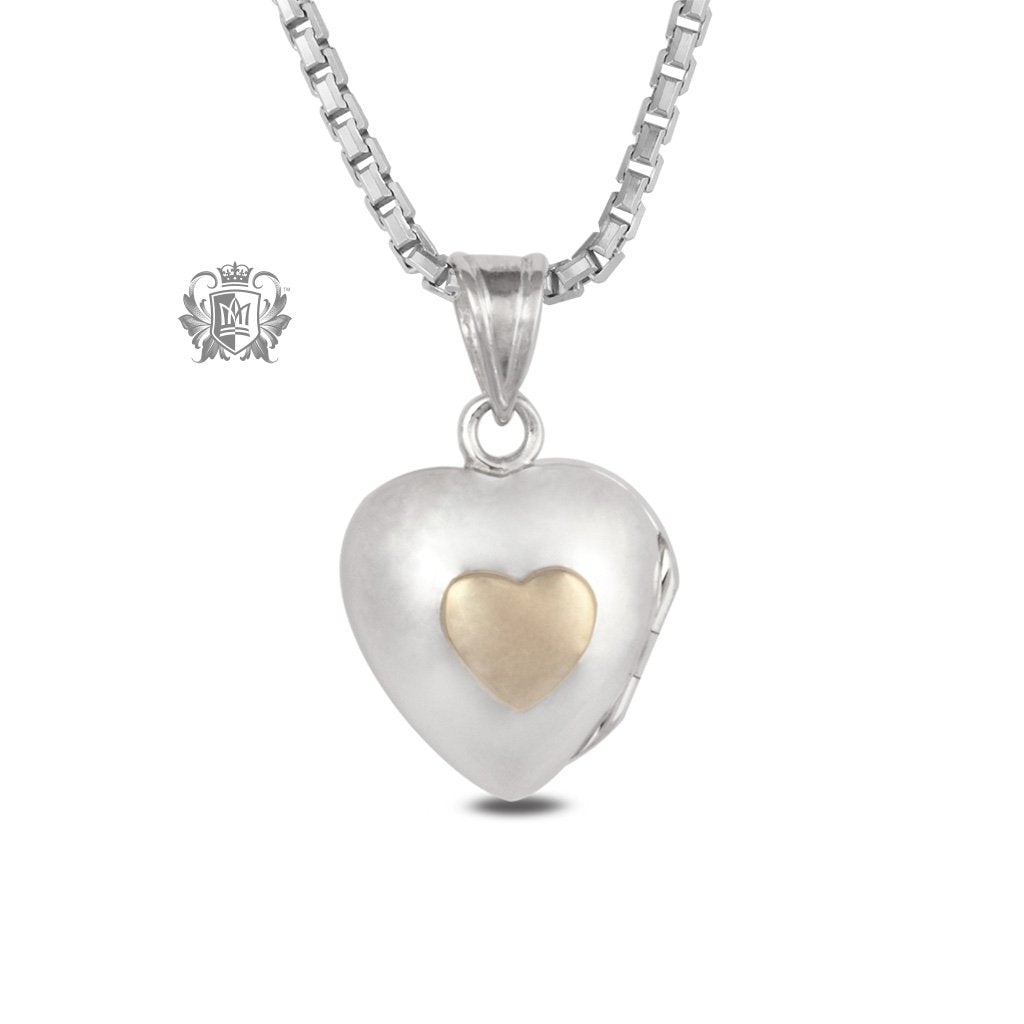 Heart Locket with 10K Gold Accent Small