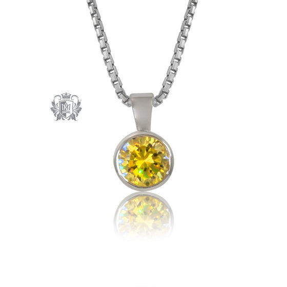 CITRINE Cubic Metalsmiths Sterling Silver Bezel Set Pendant