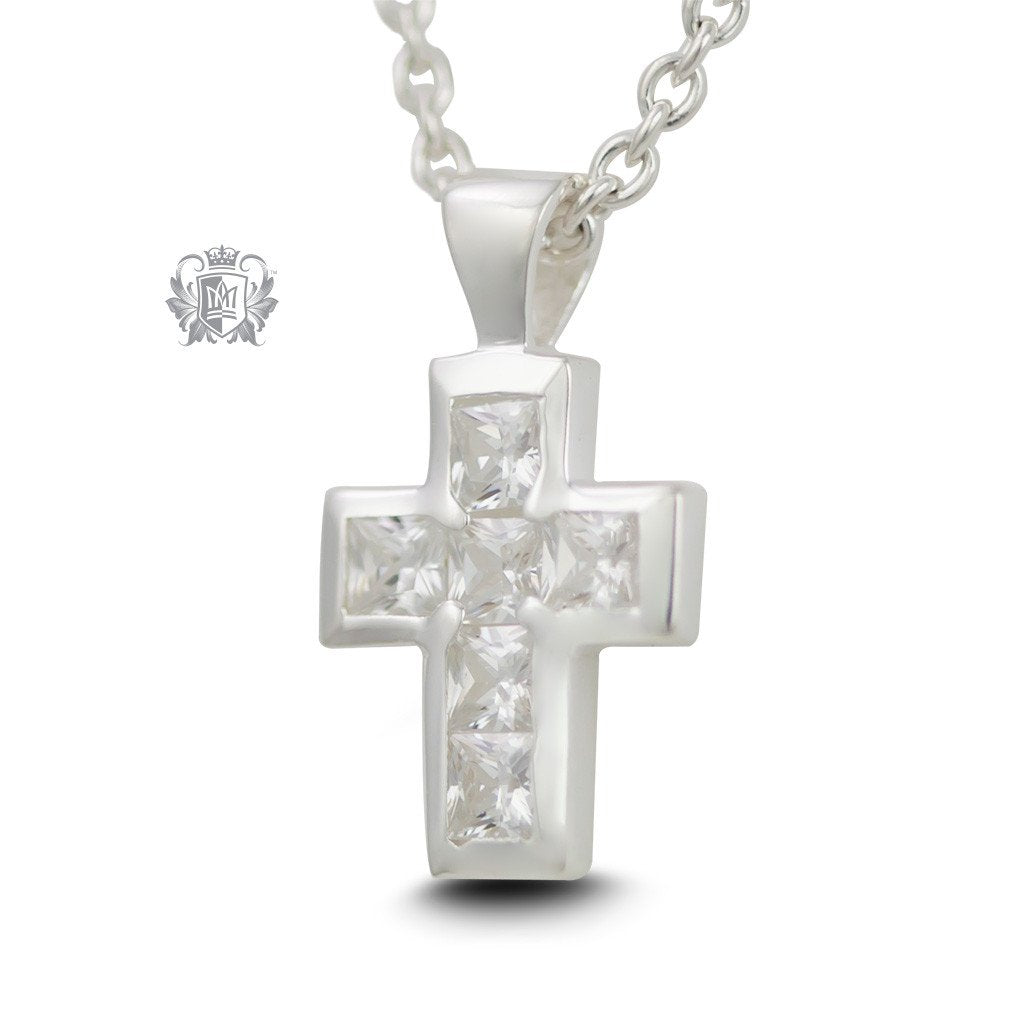 Medium Cubic Cross - 18 inch chain Gemstone Pendants - 1