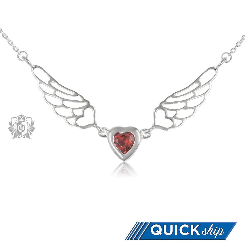 Red Cubic Angel Heart Wings - Quick Ship