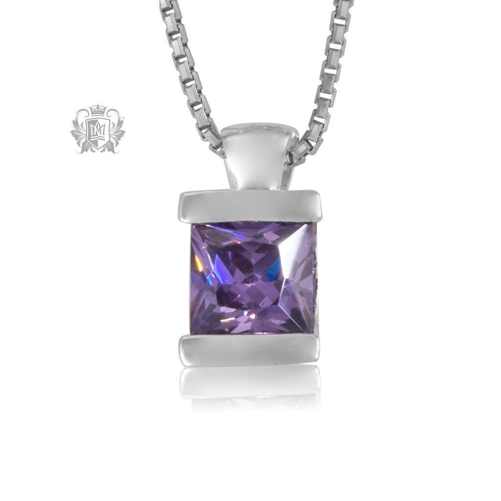 Amethyst Cubic Channel Set Pendant Sterling Silver