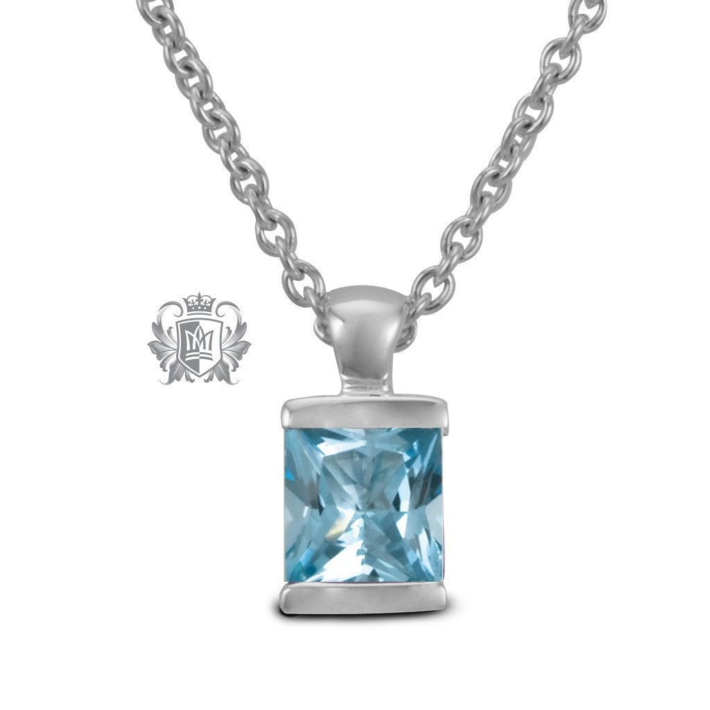 Channel Set Pendant - Blue Topaz / 18 inch chain Gemstone Pendants - 3