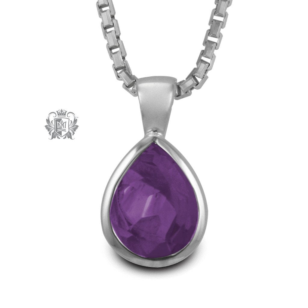 Amethyst Cubic Large Pear Shape Pendant Sterling Silver