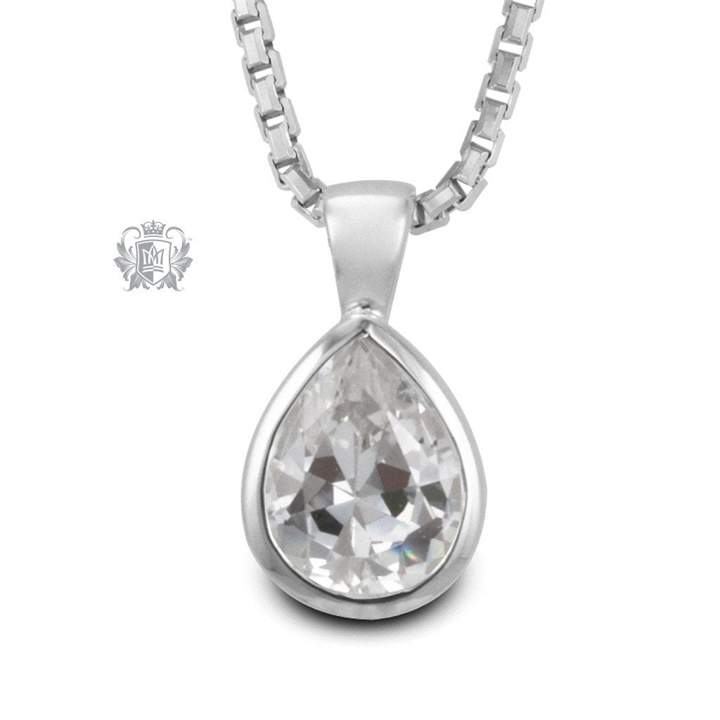Cubic Large Pear Shape Pendant Sterling Silver