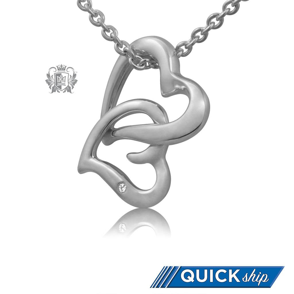 Quick Ship Metalsmiths Sterling Silver Diamond Double Heart Necklace