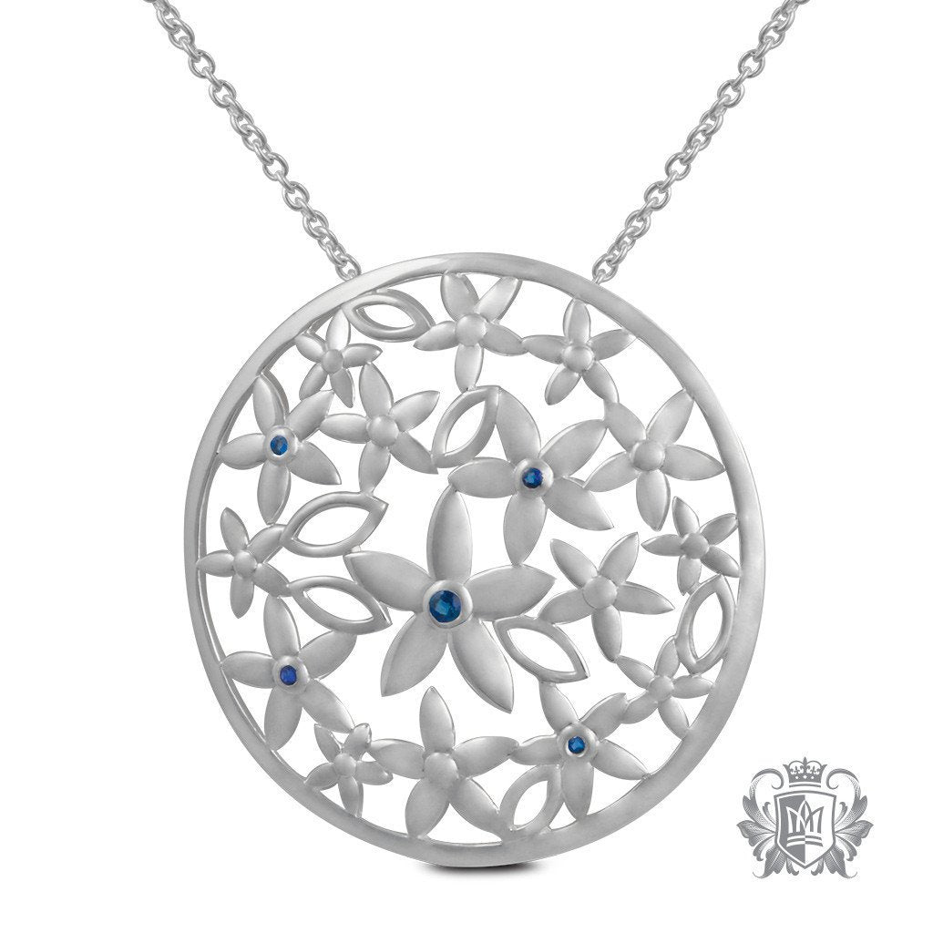 Daisy Pattern Pendant with Sapphire Accents - 18 inch chain Gemstone Pendants - 1