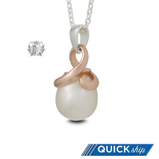 Rose Gold Dipped Entwined Pearl Pendant - Quick Ship
