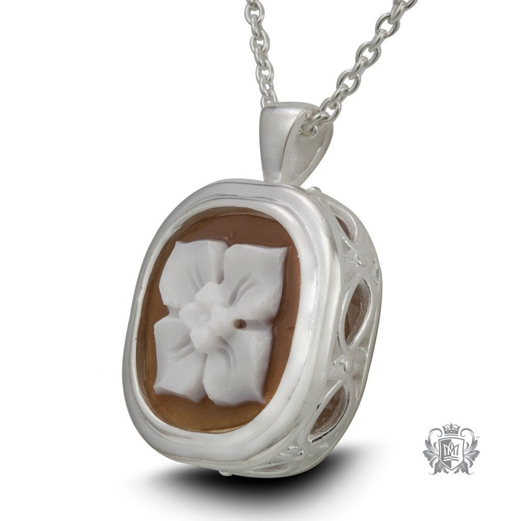 Artisan Carved Cameo Pendant - Side