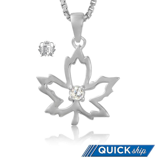 Quick Ship Metalsmiths Sterling Silver Dazzling Maple Leaf Pendant
