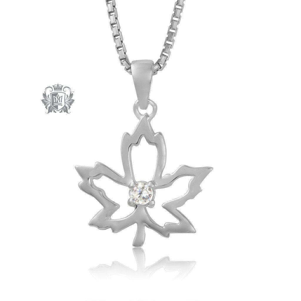 Metalsmiths Sterling Silver Dazzling Maple Leaf Pendant