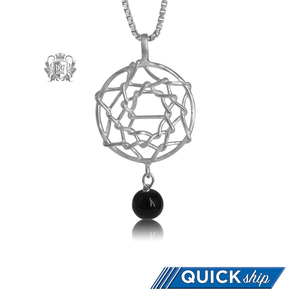 Quick Ship Dreamcatcher Pendant with Black Onyx Sterling Silver Necklace