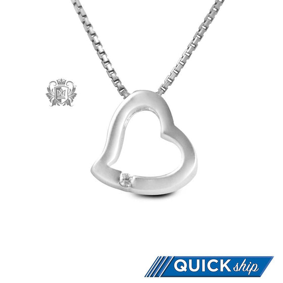 Quick Ship Heart Slider Pendant with Channel Set Diamond