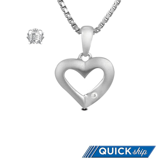 Quick Ship Metalsmiths Sterling Silver Flair Diamond Heart Pendant