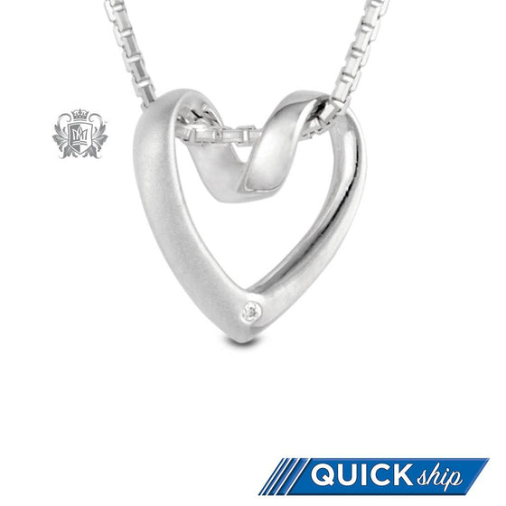 Quick Ship Metalsmiths Sterling Silver Diamond Heart Necklace