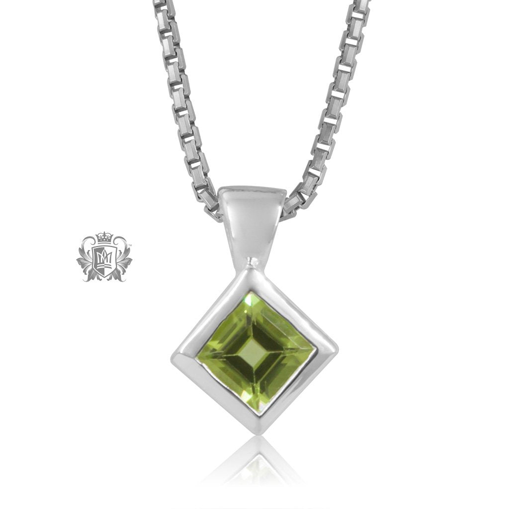Metalsmiths Sterling Silver Square Slope Pendant - PERIDOT