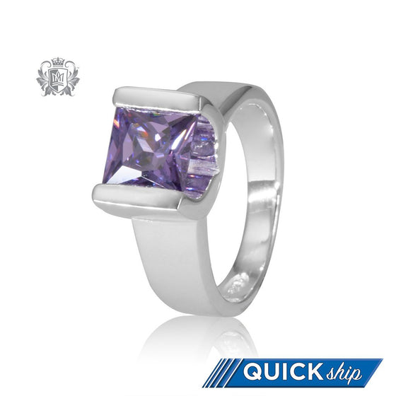 Quick Ship Amethyst Cubic Large Square Channel Set Ring Sterling Silver