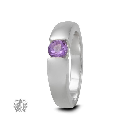 Round Channel Set Ring - Amethyst / Size 5 Gemstone RIngs - 1