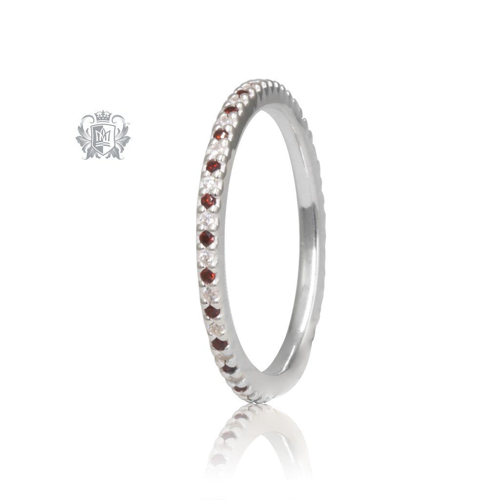 Sterling Silver Garnet Red Eternal Stacking Cubic Ring