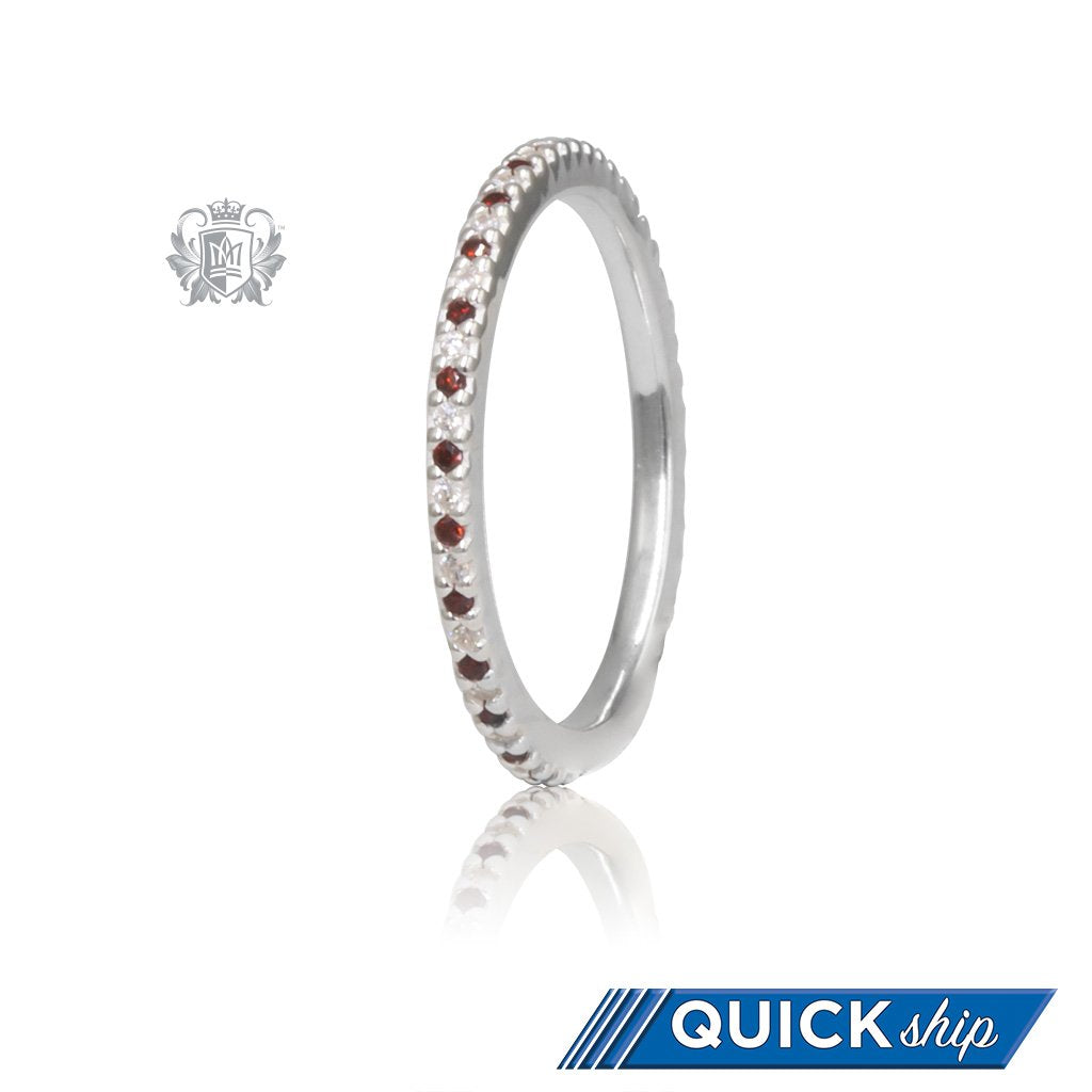 Sterling Silver Garnet Red Eternal Stacking Cubic Ring Quick Ship