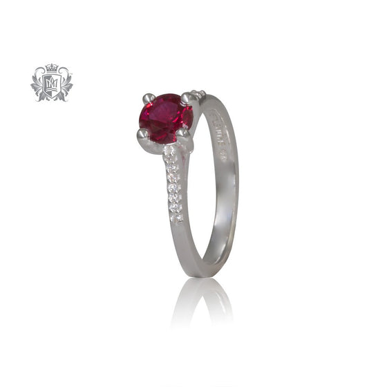 Serious Sparkle Ruby Red Cubic Ring Sterling Silver