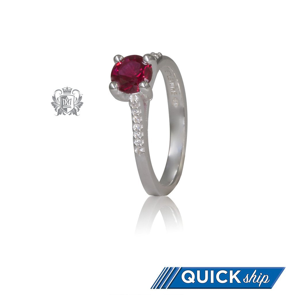 Serious Sparkle Ruby Red Cubic Ring Sterling Silver Quick Ship