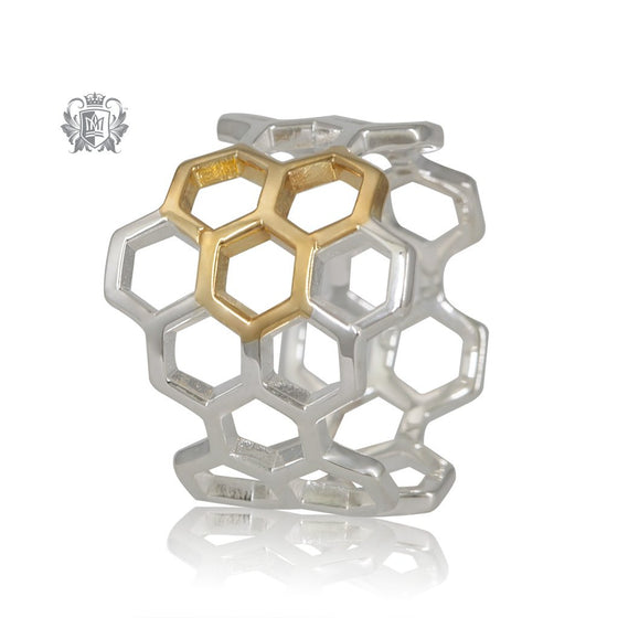 Metalsmiths Sterling Silver Gold Dipped Honeycomb Ring