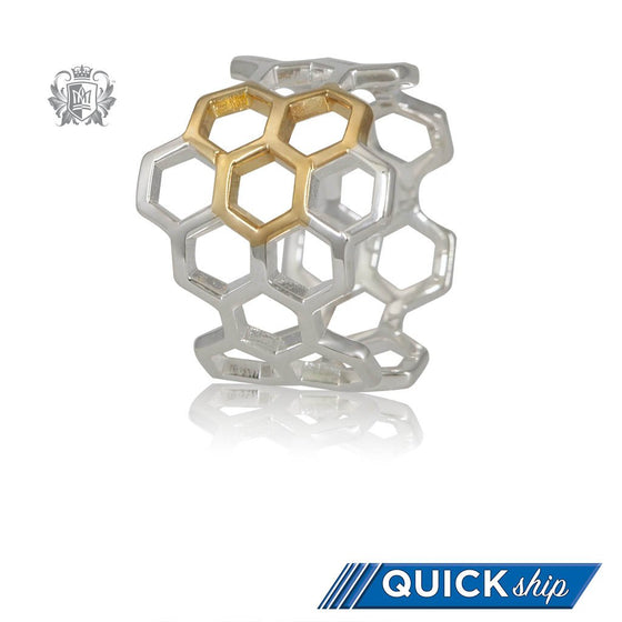 Quick Ship Metalsmiths Sterling Silver Gold Dipped Honeycomb Ring
