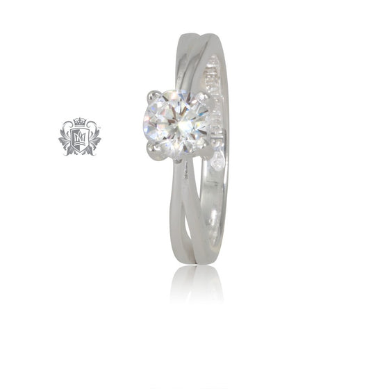 Metalsmiths Sterling Silver Shoulder Point Cubic Solitaire Ring