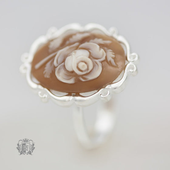 Artisan Carved Rose Cameo Ring - front