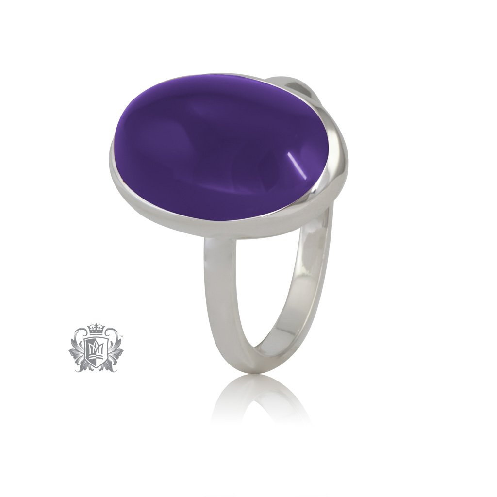 Violet  Agate JellyBean Ring Sterling Silver