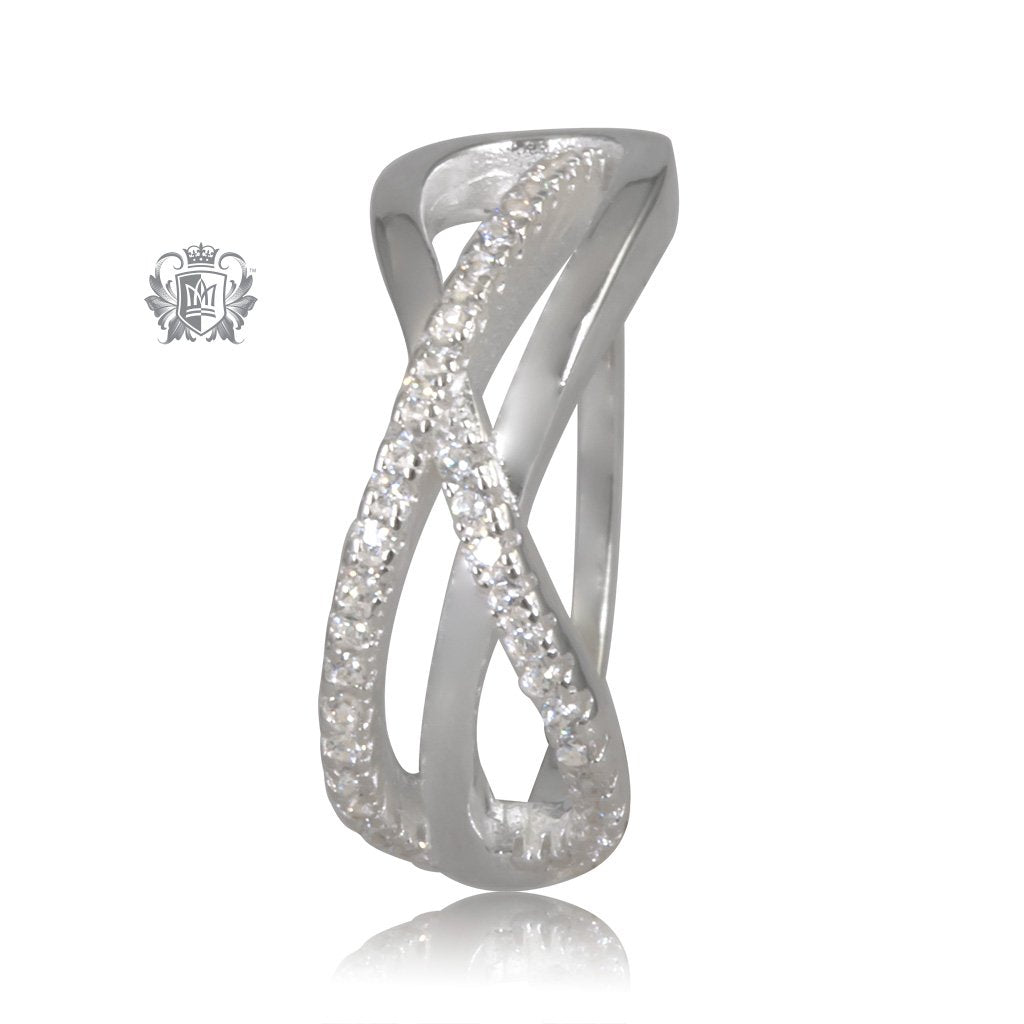 Sterling Silver Eternity Crossover Sparkle Band