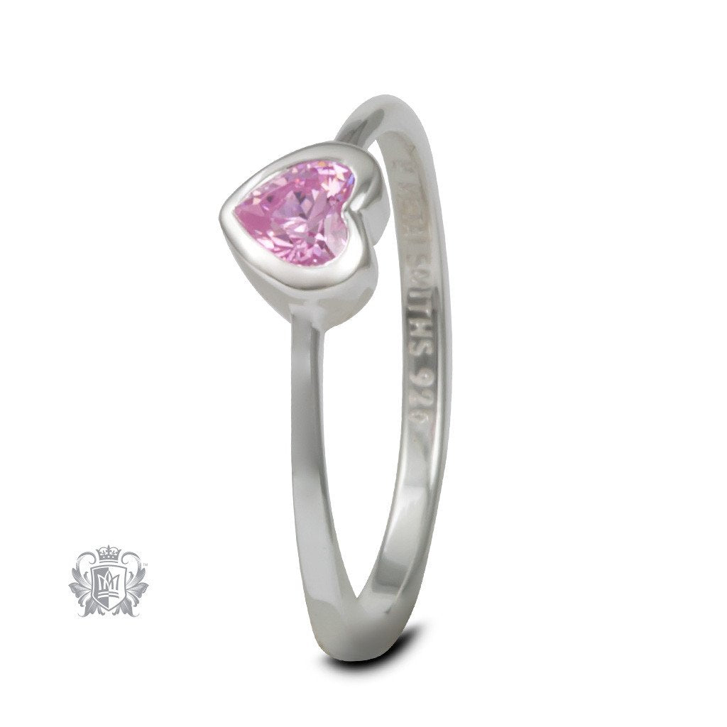 Pink Cubic Sterling Silver Heart Ring
