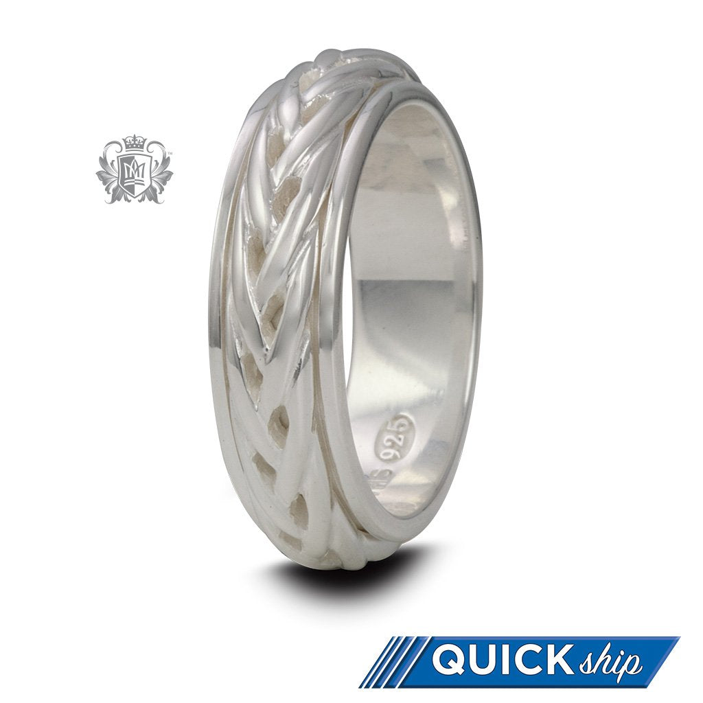 Sterling Silver Braided Spinner Ring For Him